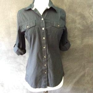 CONVERSE   Navy Blue Tab Sleeve Button Up Shirt M